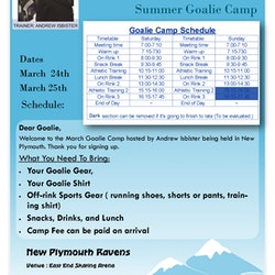 Goalie Camp Details